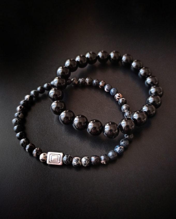 pulsera de jaspe marino y obsidiana