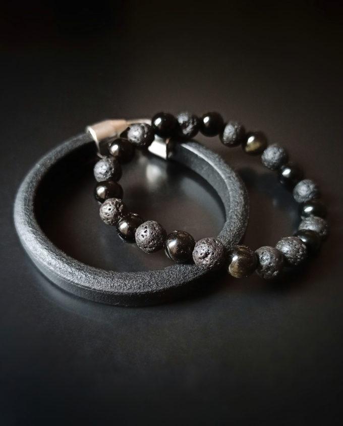 pulsera de piel y obsidiana